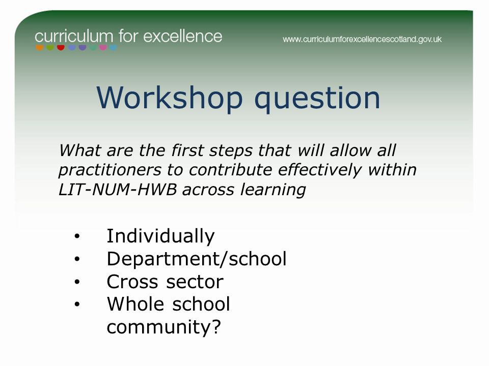 Workshop question What are the first steps that will allow all practitioners to contribute effectively within LIT-NUM-HWB across learning Individually
