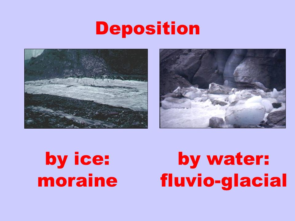 Deposition by ice: moraine by water: fluvio-glacial