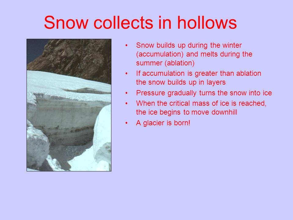 Snow collects in hollows Snow builds up during the winter (accumulation) and melts during the summer (ablation) If accumulation is greater than ablati