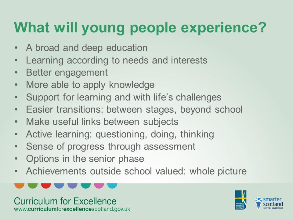 What will young people experience.