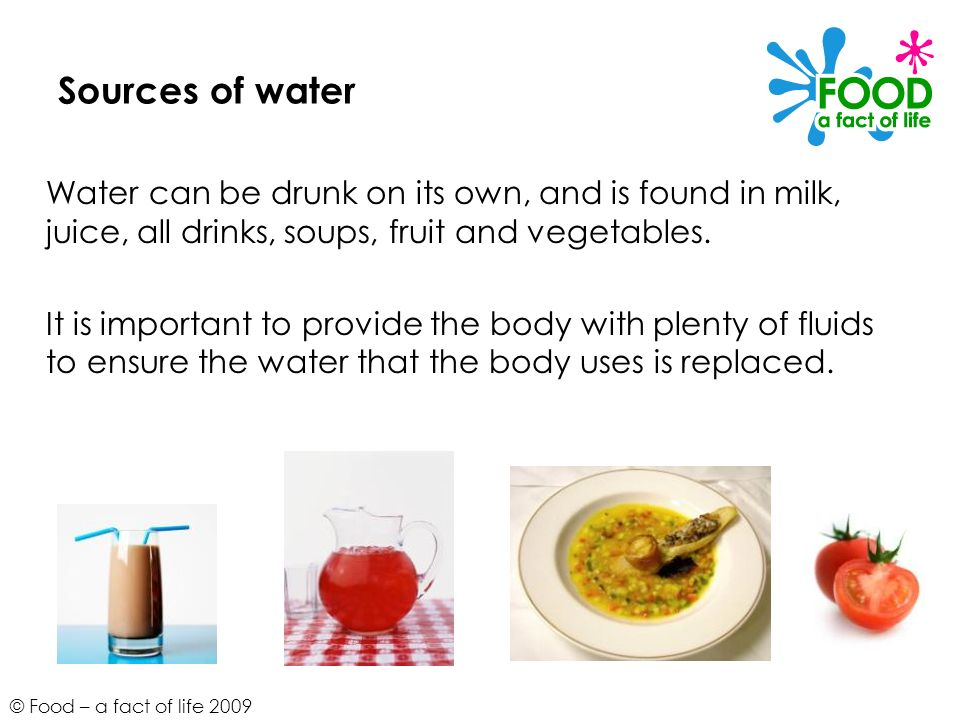 © Food – a fact of life 2009 Sources of water Water can be drunk on its own, and is found in milk, juice, all drinks, soups, fruit and vegetables. It
