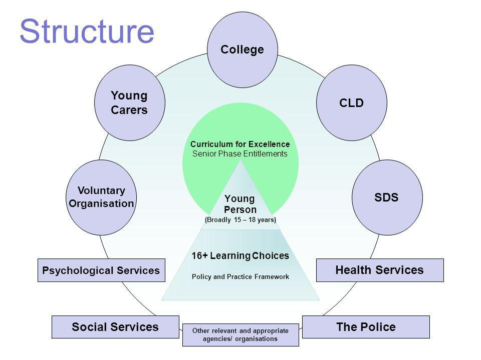 Structure Curriculum for Excellence Senior Phase Entitlements SDS Voluntary Organisation Young Carers CLD College Psychological Services Other relevan