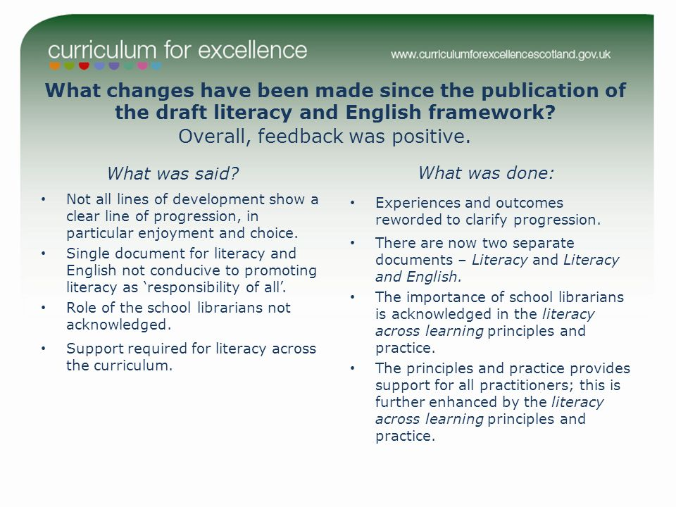 What changes have been made since the publication of the draft literacy and English framework? What was said? Not all lines of development show a clea
