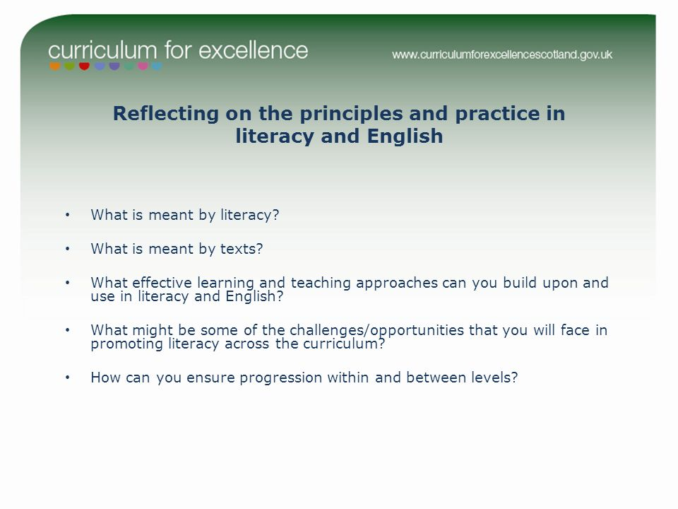 Reflecting on the principles and practice in literacy and English What is meant by literacy.