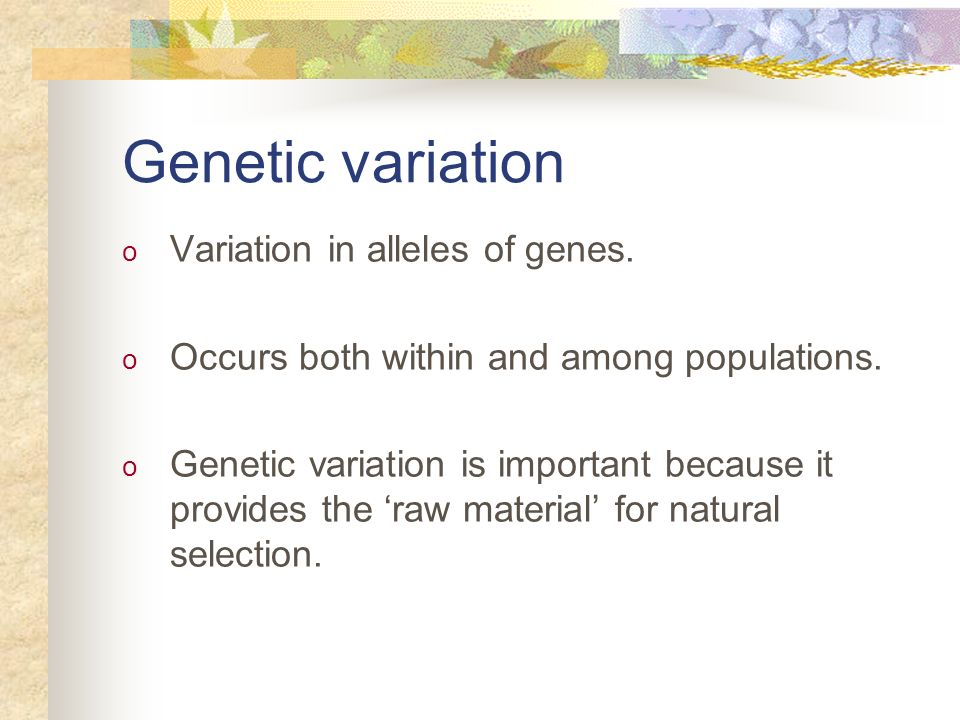 Genetic variation o Variation in alleles of genes. o Occurs both within and among populations. o Genetic variation is important because it provides th