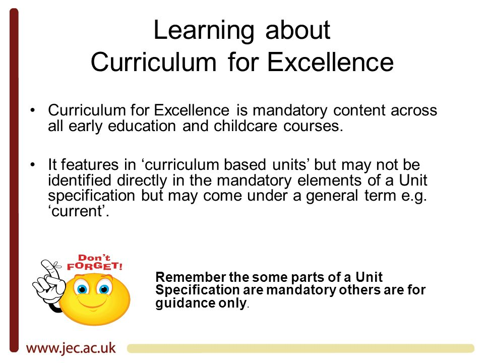 Learning about Curriculum for Excellence Curriculum for Excellence is mandatory content across all early education and childcare courses.