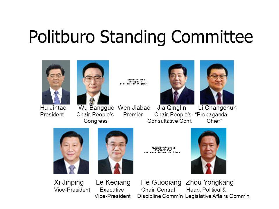 Politburo Standing Committee Hu Jintao Wu Bangguo Wen Jiabao Jia Qinglin Li Changchun President Chair, Peoples Premier Chair, Peoples Propaganda Congress Consultative Conf.