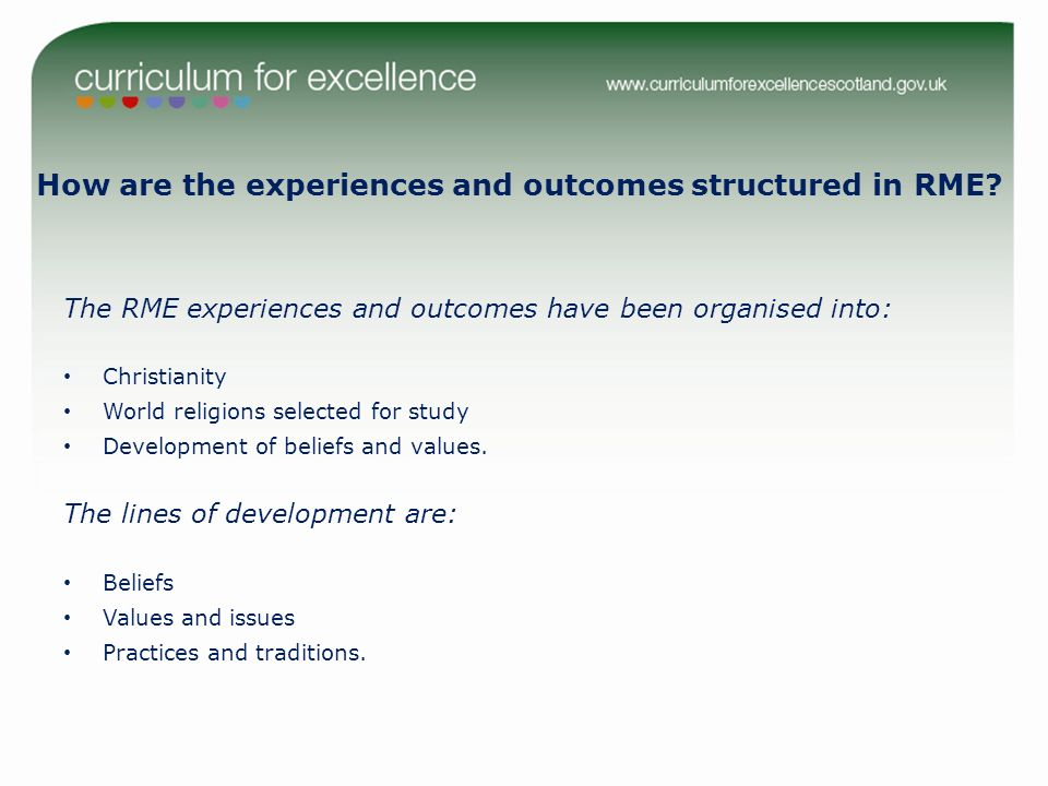 How are the experiences and outcomes structured in RME? The RME experiences and outcomes have been organised into: Christianity World religions select