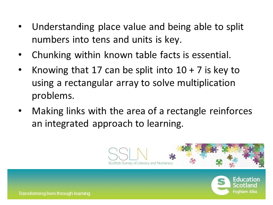 Transforming lives through learning Understanding place value and being able to split numbers into tens and units is key.