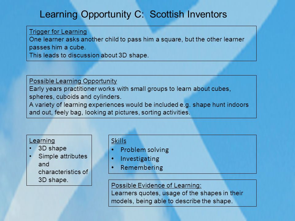 Learning Opportunity C: Scottish Inventors Possible Learning Opportunity Early years practitioner works with small groups to learn about cubes, sphere