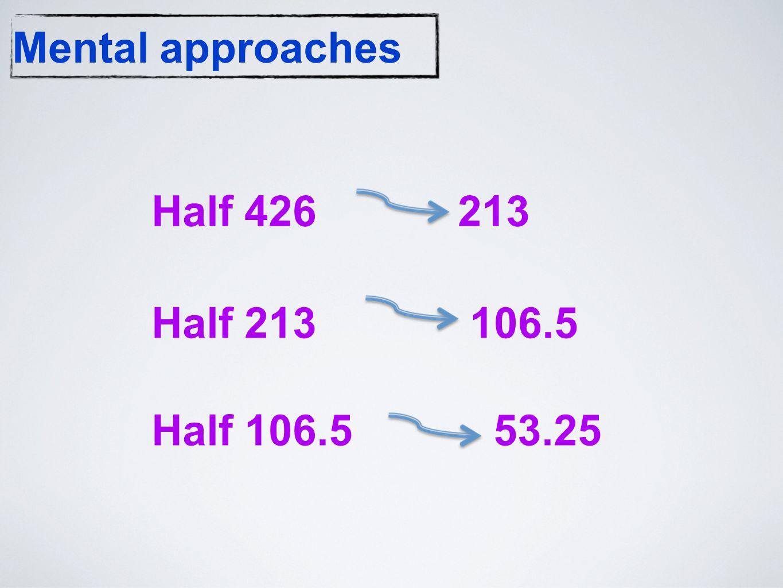 Mental approaches Half 426 213 Half 213 106.5 Half 106.5 53.25
