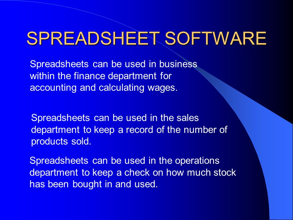 SPREADSHEET SOFTWARE A spreadsheet package is a computer program created specifically to help in the processing of numbers.