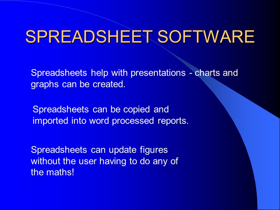 SPREADSHEET SOFTWARE Spreadsheets can be used in business within the finance department for accounting and calculating wages.