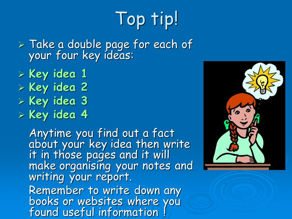 4 key ideas 1 st – Choose and copy down 4 of the key ideas & questions from the list which you are most interested in.
