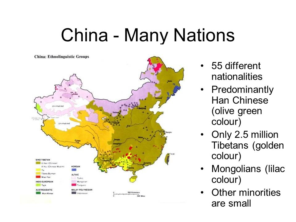 China - Many Nations 55 different nationalities Predominantly Han Chinese (olive green colour) Only 2.5 million Tibetans (golden colour) Mongolians (lilac colour) Other minorities are small