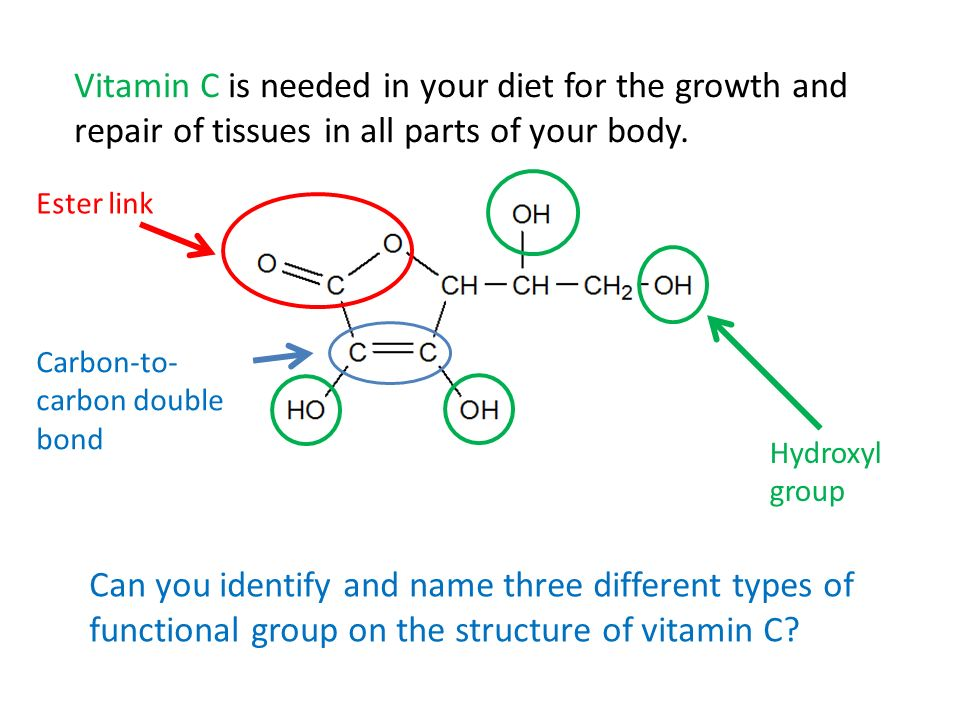 Can you identify and name three different types of functional group on the structure of vitamin C? Ester link Hydroxyl group Vitamin C is needed in yo