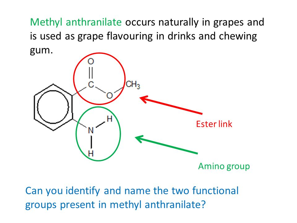 Can you identify and name the two functional groups present in methyl anthranilate? Amino group Methyl anthranilate occurs naturally in grapes and is