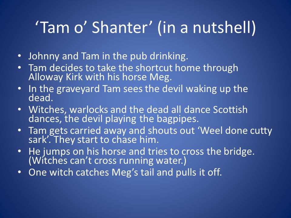 Tam o Shanter (in a nutshell) Johnny and Tam in the pub drinking.