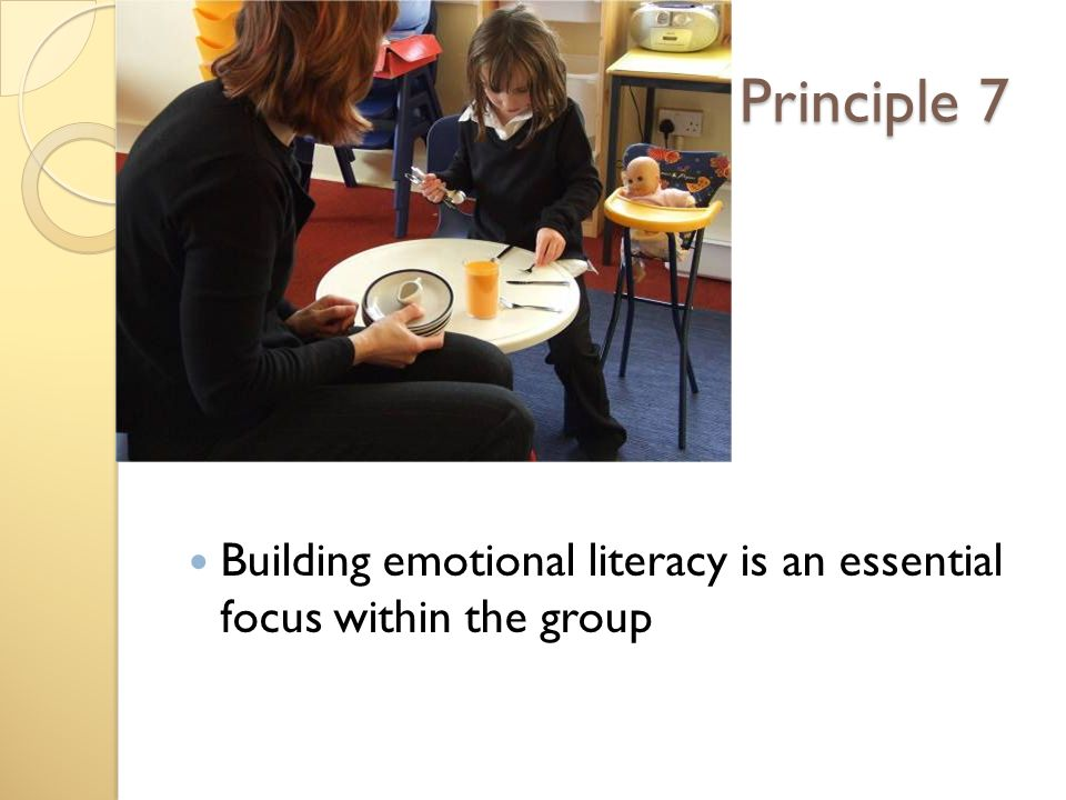 Principle 7 Building emotional literacy is an essential focus within the group