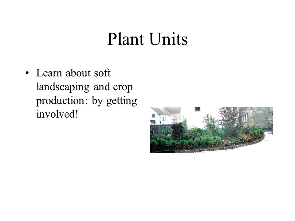 Plant Units Learn about soft landscaping and crop production: by getting involved!