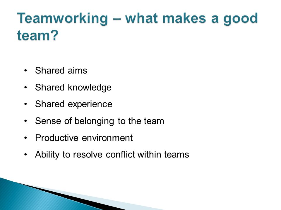 Shared aims Shared knowledge Shared experience Sense of belonging to the team Productive environment Ability to resolve conflict within teams