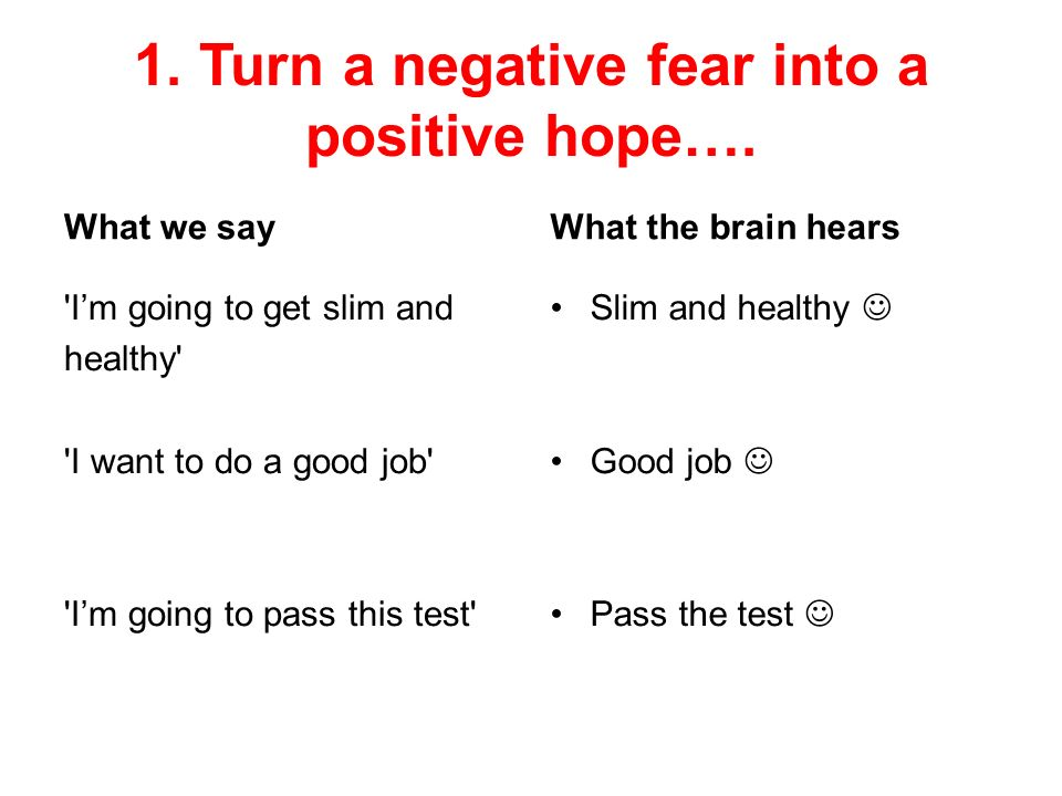 1. Turn a negative fear into a positive hope….