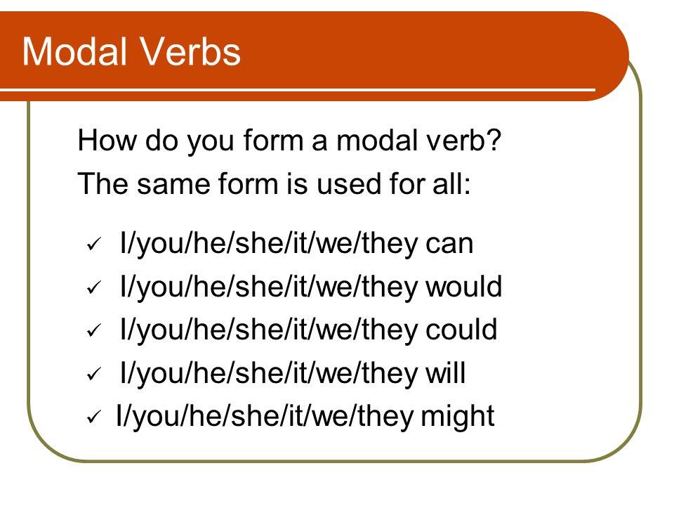 Modal Verbs How do you form negatives.