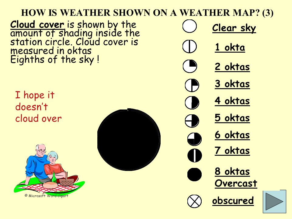 HOW IS WEATHER SHOWN ON A WEATHER MAP? (3) Cloud cover is shown by the amount of shading inside the station circle. Cloud cover is measured in oktas E