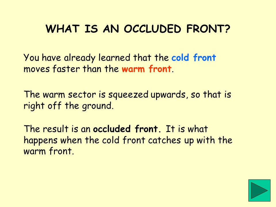 WHAT IS AN OCCLUDED FRONT? You have already learned that the cold front moves faster than the warm front. The result is an occluded front. It is what