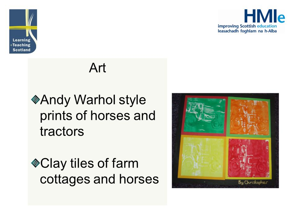 Art Andy Warhol style prints of horses and tractors Clay tiles of farm cottages and horses