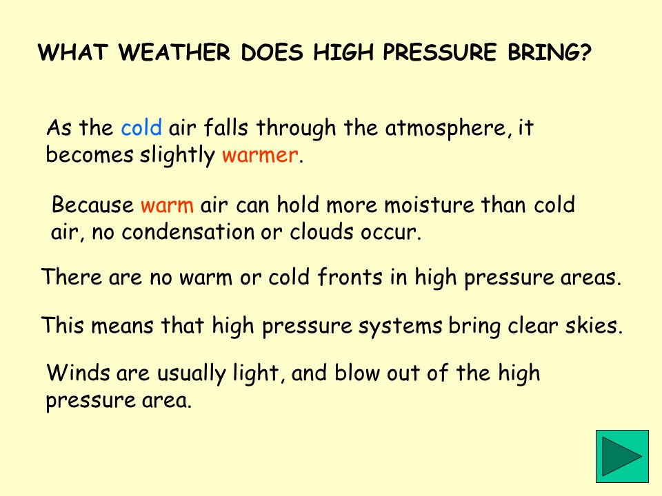 WHAT WEATHER DOES HIGH PRESSURE BRING? As the cold air falls through the atmosphere, it becomes slightly warmer. Because warm air can hold more moistu