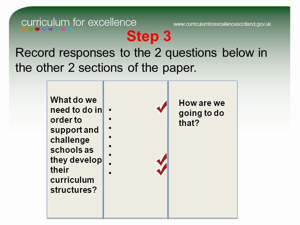 Step 3 Record responses to the 2 questions below in the other 2 sections of the paper.