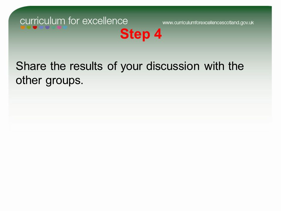 Step 4 Share the results of your discussion with the other groups.