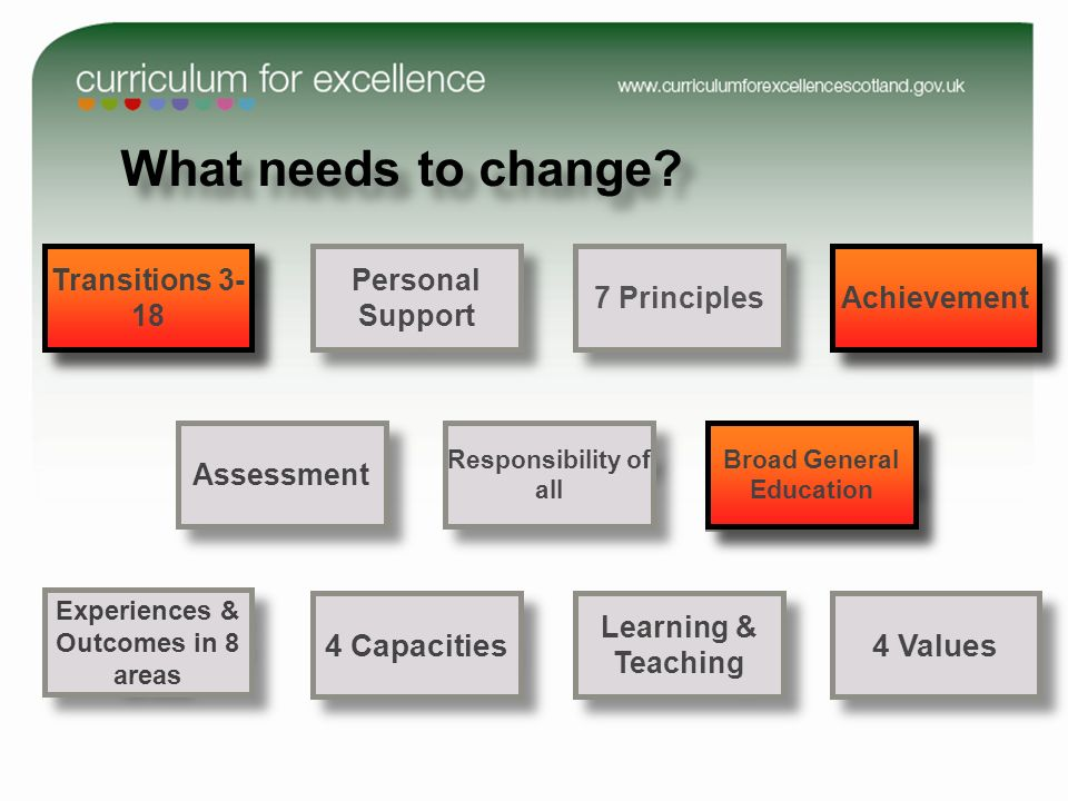 4 Capacities 4 Values Experiences & Outcomes in 8 areas 6 Entitlements Transitions 3-18 Transitions 3-18 4Contexts for learning Personal Support Learning & Teaching Assessment Responsibility of all 7 Principles What needs to change.