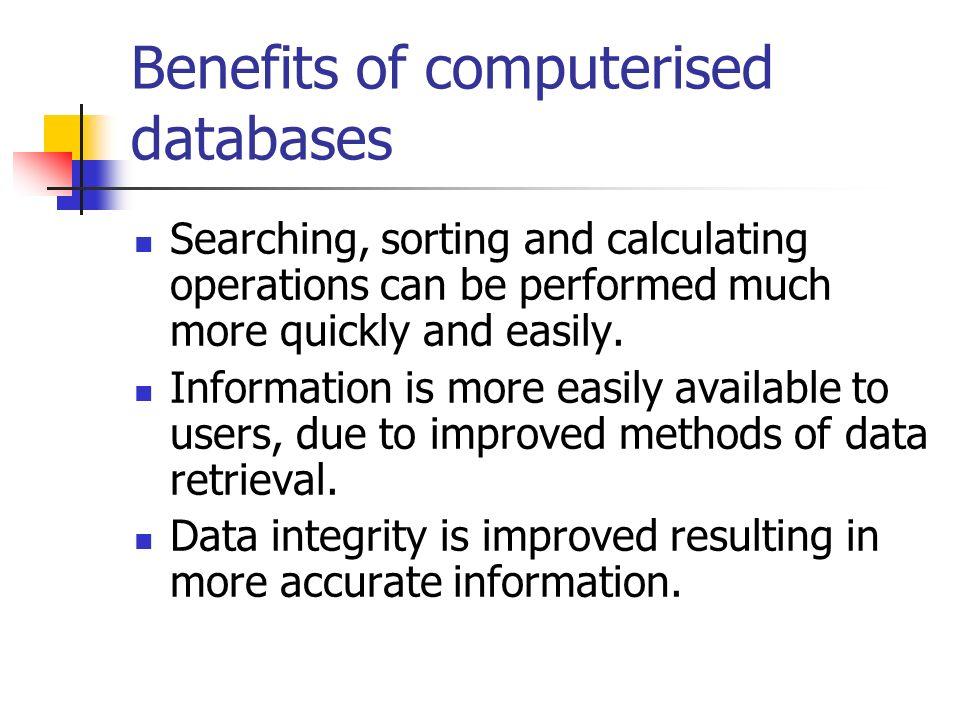Types of computerised database Flat file Relational