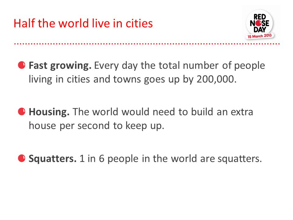 Half the world live in cities Fast growing. Every day the total number of people living in cities and towns goes up by 200,000. Housing. The world wou