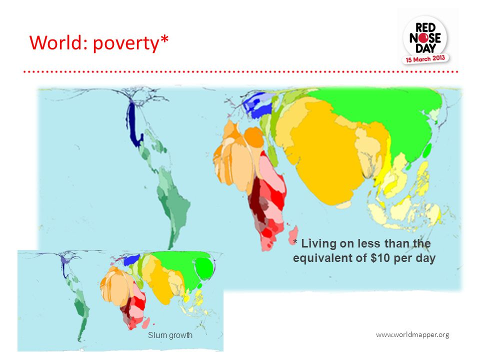 World: poverty* Slum growth * Living on less than the equivalent of $10 per day www.worldmapper.org