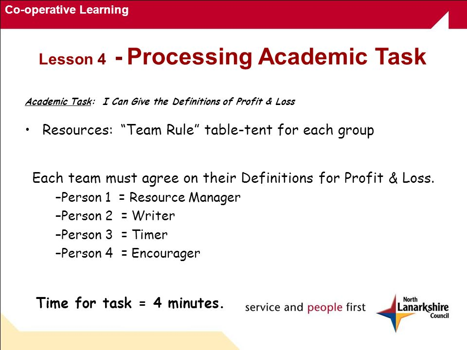 Co-operative Learning Academic Task: I Can Give the Definitions of Profit & Loss Resources: Team Rule table-tent for each group Each team must agree o