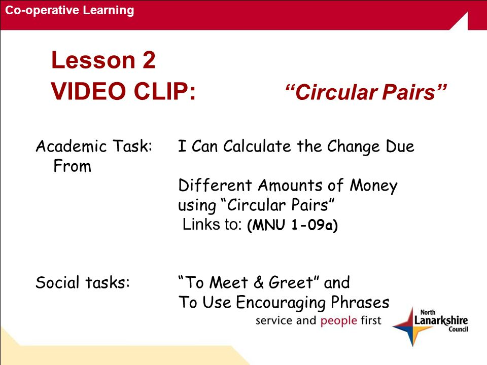 Co-operative Learning Lesson 2 VIDEO CLIP: Circular Pairs Academic Task: I Can Calculate the Change Due From Different Amounts of Money using Circular