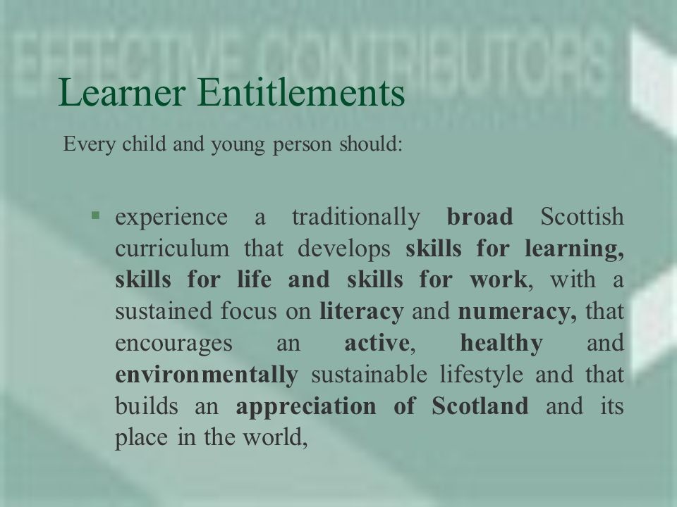 Learner Entitlements §experience a traditionally broad Scottish curriculum that develops skills for learning, skills for life and skills for work, with a sustained focus on literacy and numeracy, that encourages an active, healthy and environmentally sustainable lifestyle and that builds an appreciation of Scotland and its place in the world, Every child and young person should: