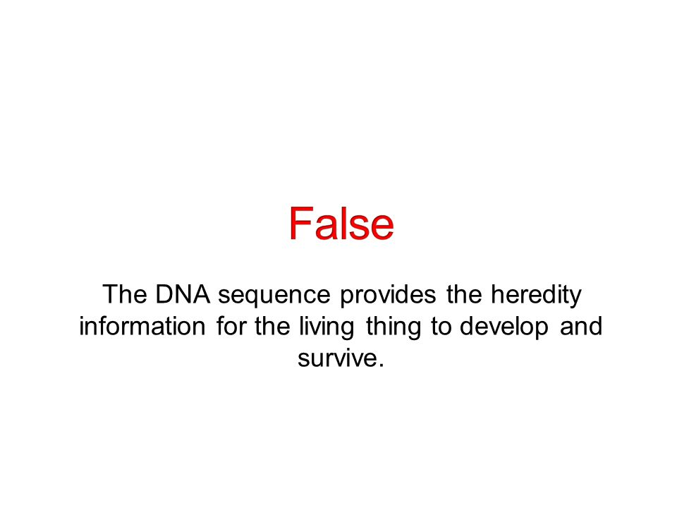 The DNA sequence provides the heredity information for the living thing to develop and survive.