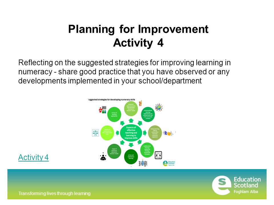 Planning for Improvement Activity 4 Reflecting on the suggested strategies for improving learning in numeracy - share good practice that you have observed or any developments implemented in your school/department Activity 4
