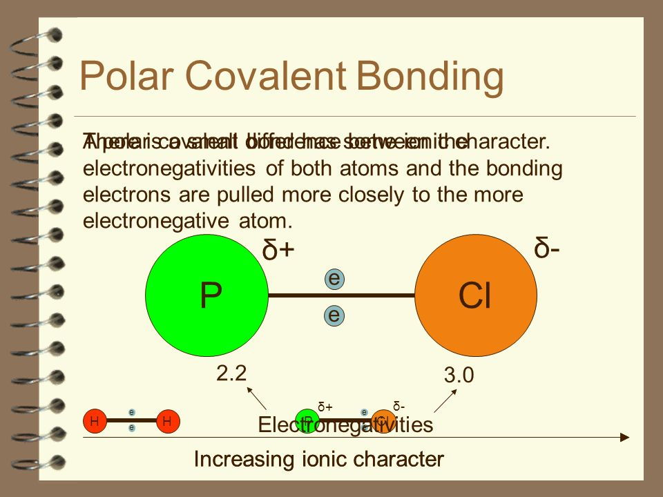 Polar Covalent Bonding A polar covalent bond has some ionic character. e H H e Increasing ionic character There is a small difference between the elec
