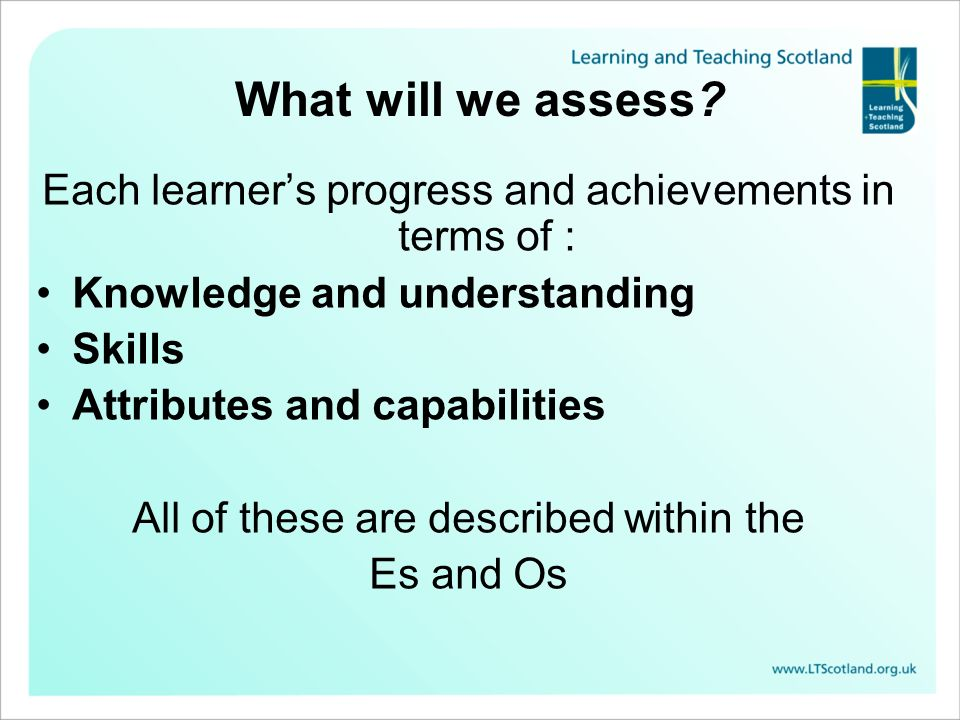 What will we assess? Each learners progress and achievements in terms of : Knowledge and understanding Skills Attributes and capabilities All of these