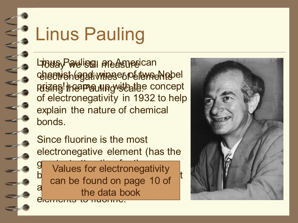 Linus Pauling Linus Pauling, an American chemist (and winner of two Nobel prizes!) came up with the concept of electronegativity in 1932 to help explain the nature of chemical bonds.