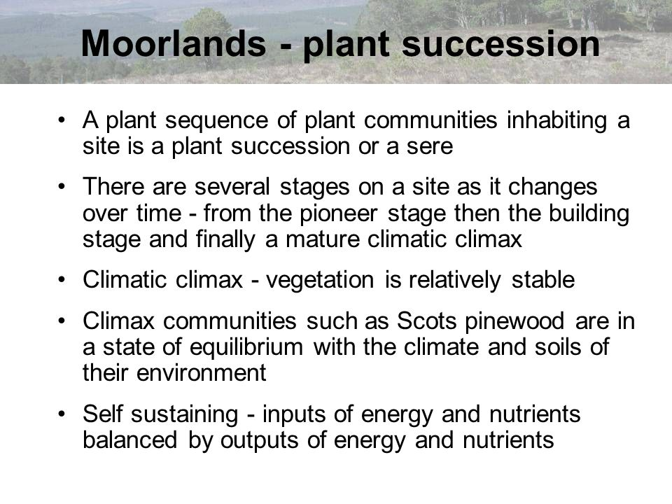 Ecosystem development Communities develop as ecosystems in response to many factors, including mans influence In the U.K.