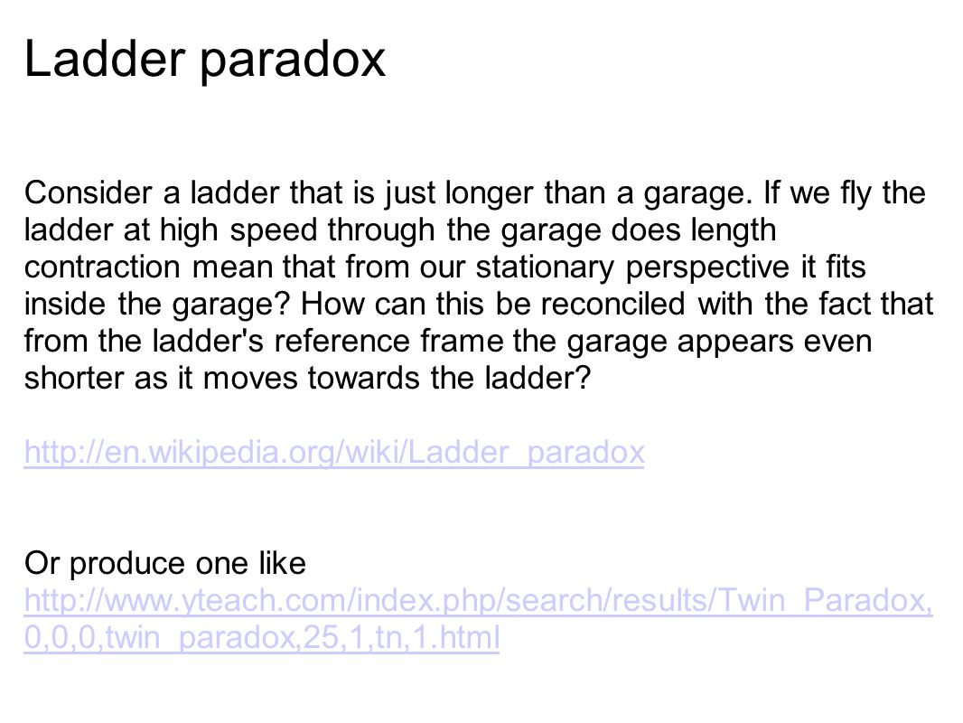 Ladder paradox Consider a ladder that is just longer than a garage.