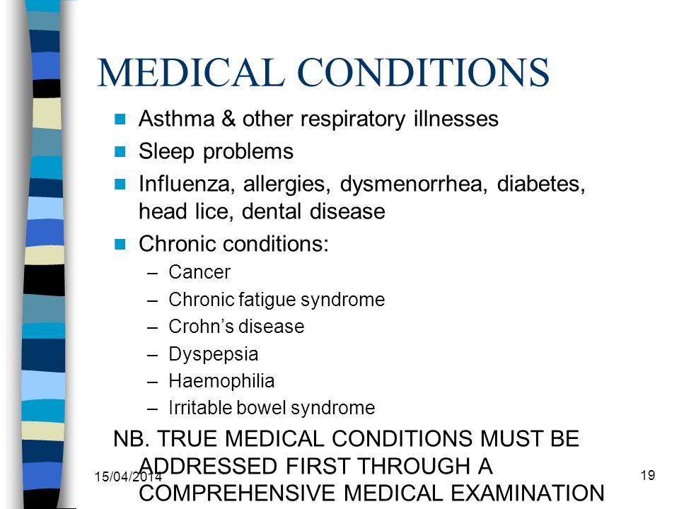 MEDICAL CONDITIONS Asthma & other respiratory illnesses Sleep problems Influenza, allergies, dysmenorrhea, diabetes, head lice, dental disease Chronic