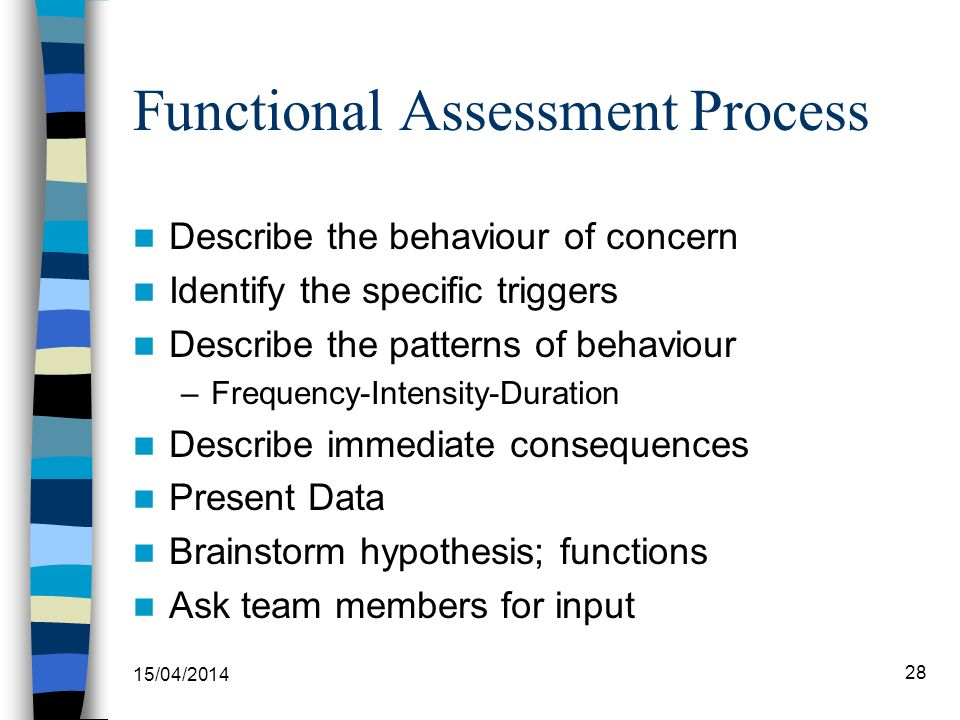 Functional Assessment Process Describe the behaviour of concern Identify the specific triggers Describe the patterns of behaviour –Frequency-Intensity
