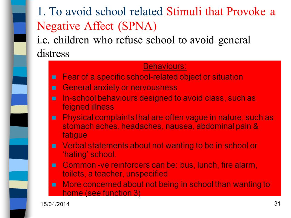 1. To avoid school related Stimuli that Provoke a Negative Affect (SPNA) i.e.